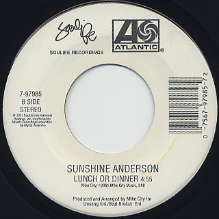 Sunshine Anderson / Heard It All Before c/w Lunch Or Dinner back