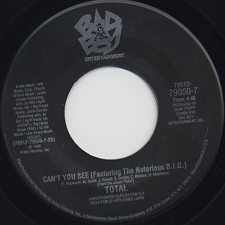 Total / No One Else(Puff Daddy Remix) c/w Can't You See back