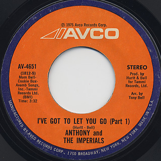 Anthony and The Imperials / I've Got To Let You Go(Part I) c/w Hold On