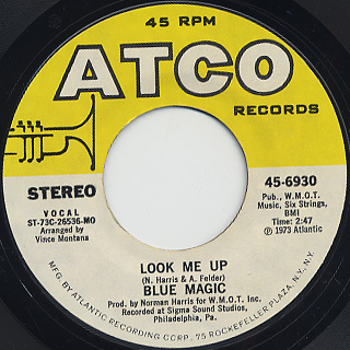 Blue Magic / Look Me Up c/w What's Come Over Me back