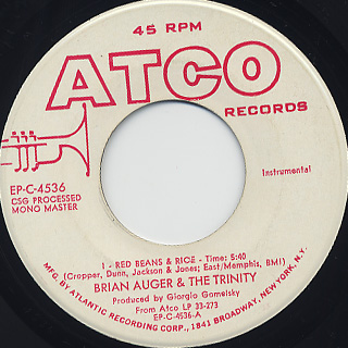 Brian Auger & The Trinity / Red Beans & Rice c/w George Bruno Money