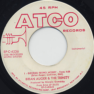 Brian Auger & The Trinity / Red Beans & Rice c/w George Bruno Money back