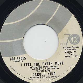 Carole King / I Feel The Earth Move c/w It's Too Late front