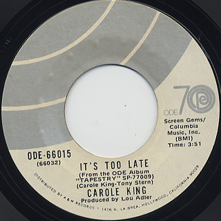 Carole King / I Feel The Earth Move c/w It's Too Late back
