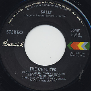 Chi-Lites / A Letter To Myself c/w Sally back