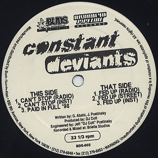 Constant Deviants / Can't Stop back