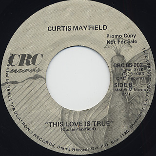 Curtis Mayfield / We Come In Peace c/w This Love Is True back
