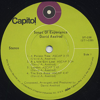 David Axelrod / Songs Of Experience label