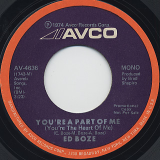 Ed Boze / You're A Part Of Me (You're The Heart Of Me) back