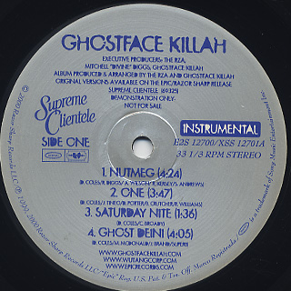 Ghostface Killah / Supreme Clientele Instrumental back