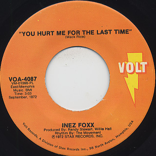 Inez Foxx / Watch The Dog c/w You Hurt Me For The Last Time back