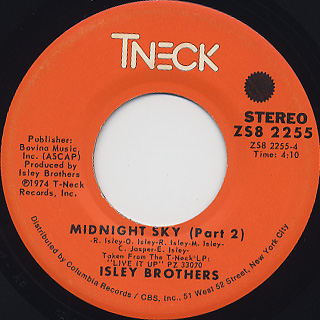 Isley Brothers / Midnight Sky(Part 1) c/w (Part 2) back