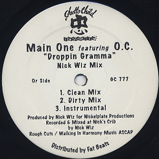 Main One Featuring O.C. / Droppin Gramma front