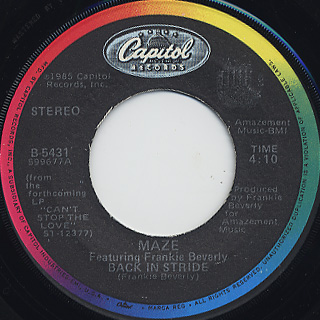 Maze featuring Frankie Beverly / Back In Stride back