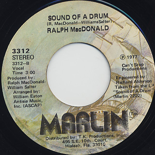 Ralph MacDonald / Jam On The Groove c/w Sound Of A Drum back