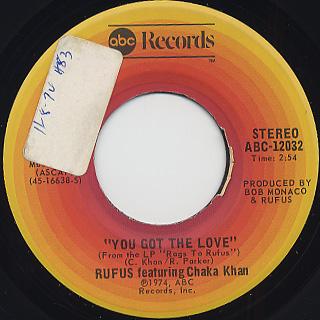 Rufus featuring Chaka Khan / You Got The Love c/w Rags To Rufus