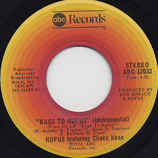 Rufus featuring Chaka Khan / You Got The Love c/w Rags To Rufus back