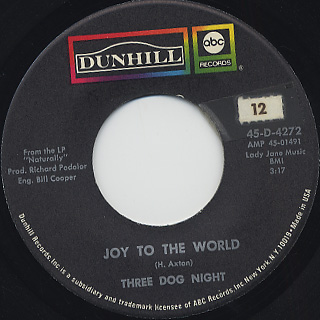 Three Dog NIght / Joy To The World c/w I Can Hear You Calling front