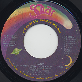 Whispers / Lady c/w I Love You front