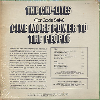 Chi-Lites / Give More Power To The People back