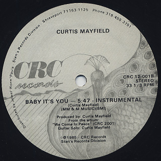 Curtis Mayfield / Baby It's You back