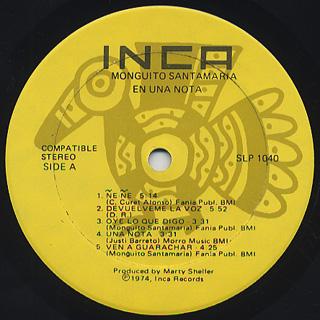 Monguito Santamaria / En Una Nota! label