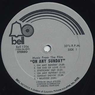 O.S.T. (Dominic Frontiere) / On Any Sunday label