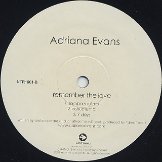 Adriana Evans / Remember The Love back
