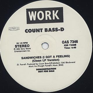 Count Bass-D / Sandwiches (I Got A Feeling) back
