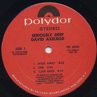 David Axelrod / Seriously Deep label
