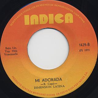 Dimension Latina / Lloraras c/w Mi Adorada back