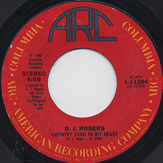 D.J. Rogers / Love Cycles c/w Country Song In My Heart back