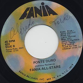 Fania All Stars / Quitate Tu c/w Ponte Duro back