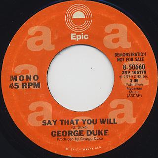 George Duke / Say That You Will back