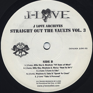 J-Love / Straight Out The Vaults Vol.3 back