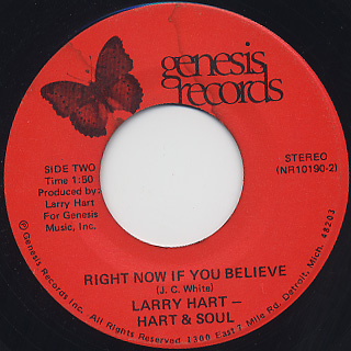 Larry Hart and Hart and Soul / Goin' Up In Smoke (45) back