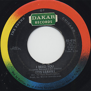 Otis Leavill / I Need You c/w I Love You front