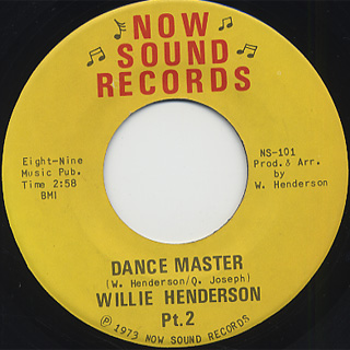 Willie Henderson / Dance Master back