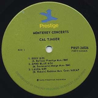 Cal Tjader / Monterey Concerts label