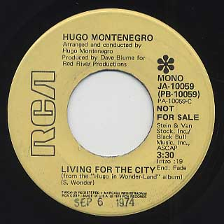 Hugo Montenegro / Living For The City c/w You Are The Sunshine Of My Life