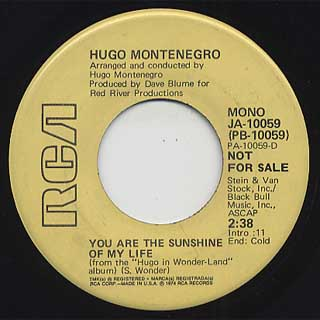 Hugo Montenegro / Living For The City c/w You Are The Sunshine Of My Life back