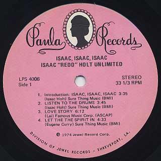 Isaac Redd Holt Unlimited / Isaac, Isaac, Isaac, label