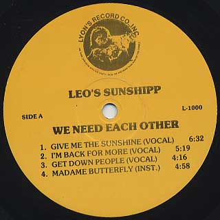 Leo's Sunshipp / We Need Each Other label