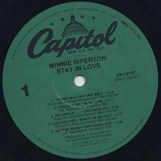 Minnie Riperton / Stay In Love label