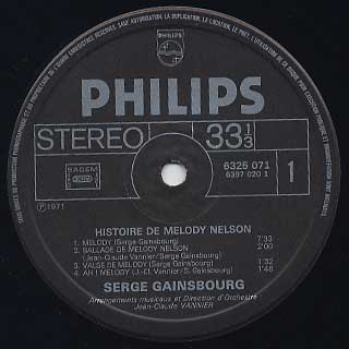 Serge Gainsbourg / Histoire De Melody Nelson label