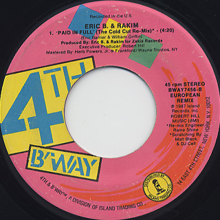 Eric B. & Rakim / Move The Crowd c/w Paid In Full(The Cold Cut Remix) back