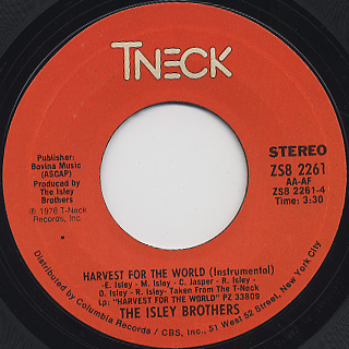 Isley Brothers / Harvest For The World (45) back