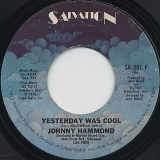 Johnny Hammond / Yesterday Was Cool c/w Virgo Lady