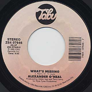 Alexander O'Neal / Never Knew Love Like This c/w What's Missing back