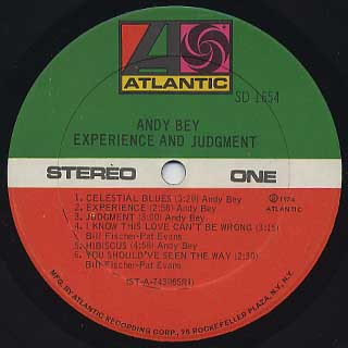 Andy Bey / Experience And Judgment label